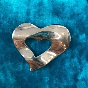 Givenchy Silver Heart Brooch